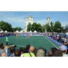 Исторический футбольный матч на центральной площади Калининграда