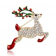 Новогодняя брошь олень Деда Мороза
