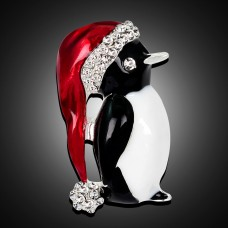 Новогодняя брошь пингвин с колпаком
