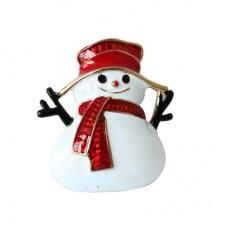 Новогодняя брошь весёлый снеговик