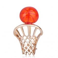 Спортивная брошь баскетбольное кольцо с мячом