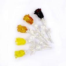 Янтарная брошь роза