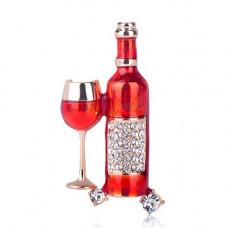 Брошь бутылка вина с бокалом