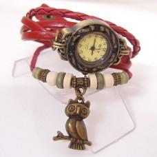 Часы с совой на кожаном ремешке