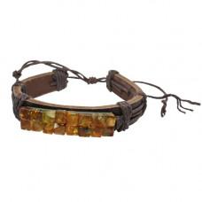 Кожаный браслет с янтарём