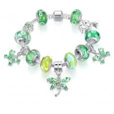 Серебряный браслет сочная зелень