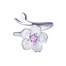 Серебряное кольцо цветок вишни