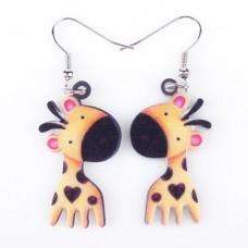 Серьги влюбленные жирафы