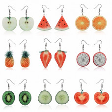 Серьги фрукты и овощи
